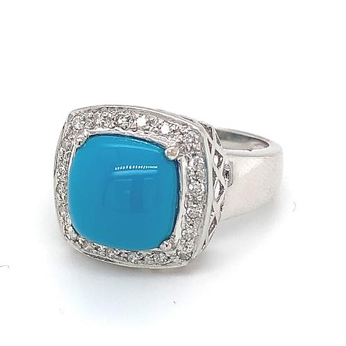 Turquoise & Diamond Ring, in 14k White Gold