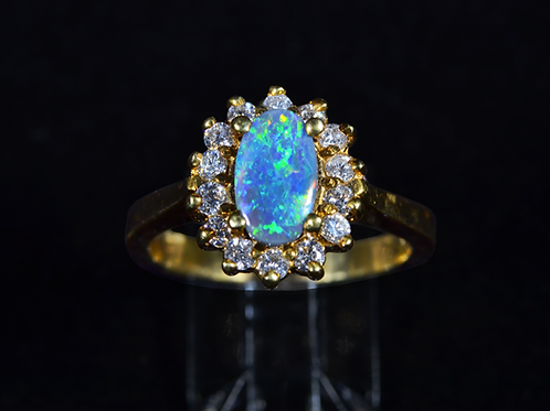 Black Opal and Diamond Ring, in 18K Yellow Gold