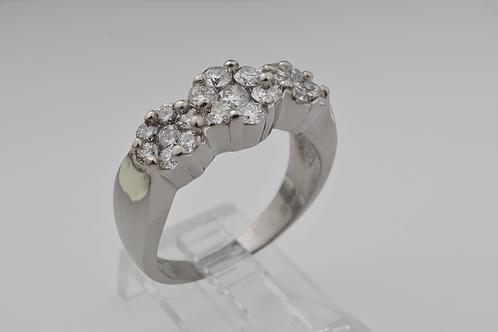 Triple Diamond Flower Ring, in 14k White Gold