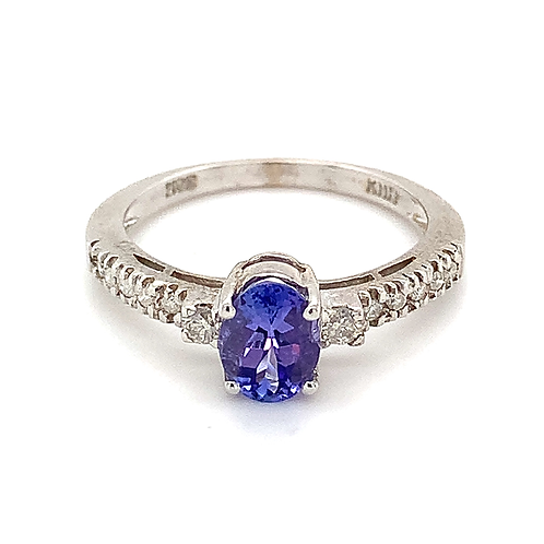 Tanzanite and Diamond Ring, in 14k White Gold
