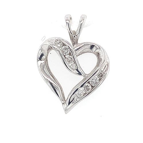 Diamond Heart Pendant, in 10k White Gold