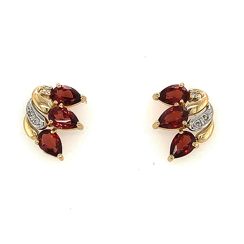 Garnet and Diamond Earrings, in 14k Yellow Gold