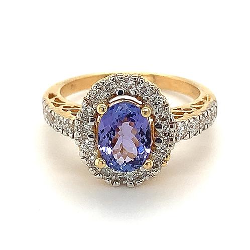 Tanzanite and Diamond Ring, in 14k Yellow Gold