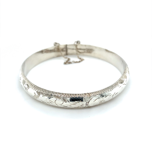 Sterling Silver Engraved Bangle w/ Safety Chain