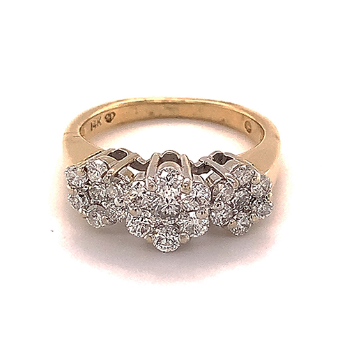 Round Brilliant-cut Diamond Flower Style Ring in 14k Two Tone Gold