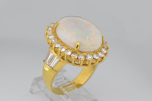 Fire Opal Ring and Diamond Ring in 18k Yellow Gold
