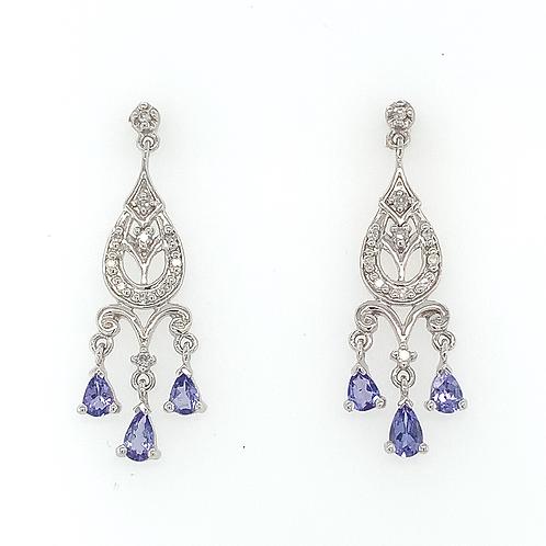 Tanzanite and Diamond Dangle Earrings, in 14k White Gold