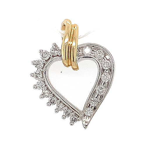 Diamond Heart Pendant, in 14k Two-Tone Gold