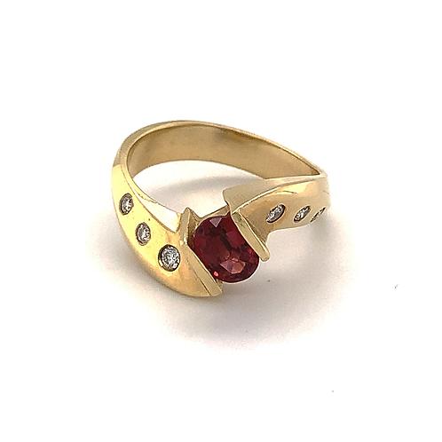 Garnet and Diamond Twist Style Ring, in 14k Yellow Gold