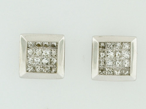 1ct Princess-cut Diamond Earrings in 14k White Gold