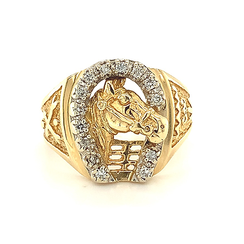 Men's Diamond Horseshoe Ring, in 14k Yellow Gold