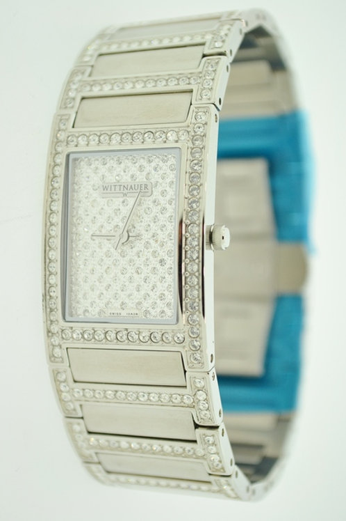 Stainless Steel Wittnauer Watch with Sapphire Crystal and Cubic Zirconia