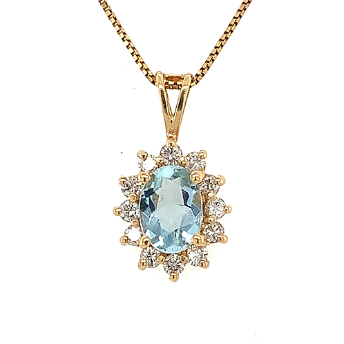Oval Aquamarine and Diamond Pendant, Set in 14k Yellow Gold