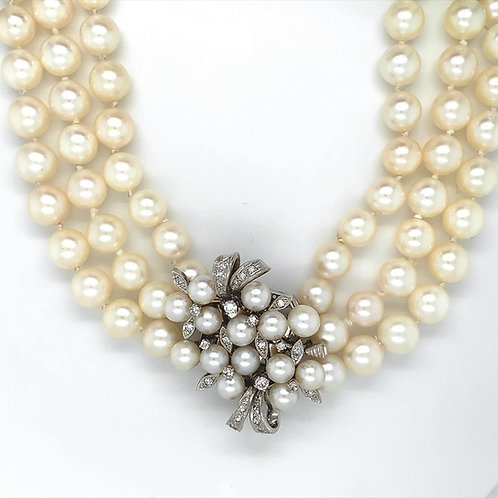 Triple Strand Pearl Necklace in 14k White Gold Clasp