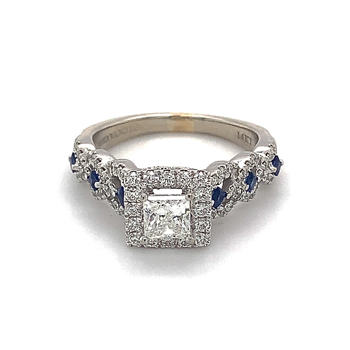 Diamond and Sapphire Ring, in 14k White Gold