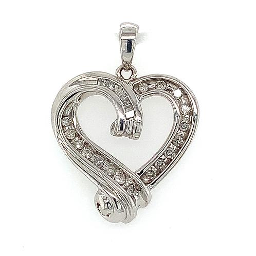 Diamond Open Heart Pendant, Set in 10k White Gold