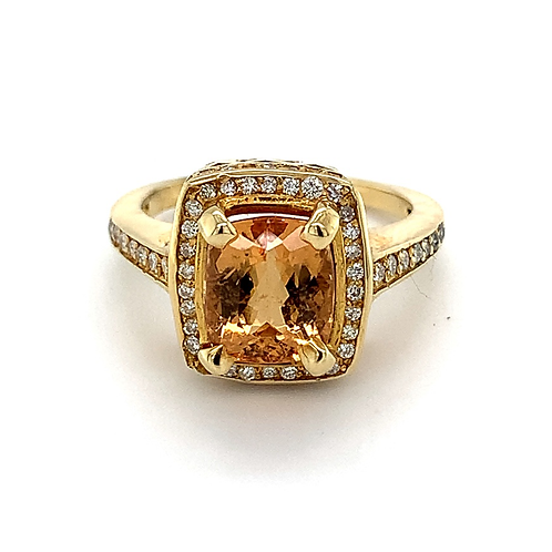 Imperial Topaz Ring with Diamond Accents, in 18k Yellow Gold