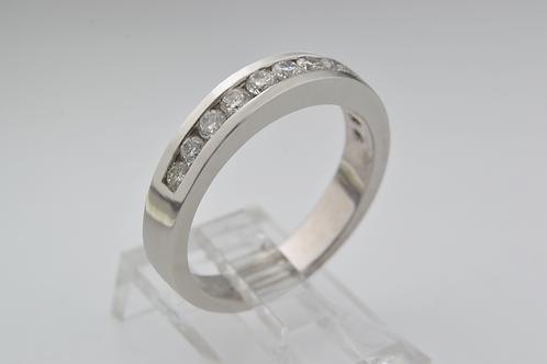 Round Brilliant-cut Diamond Channel Band in 14k White Gold