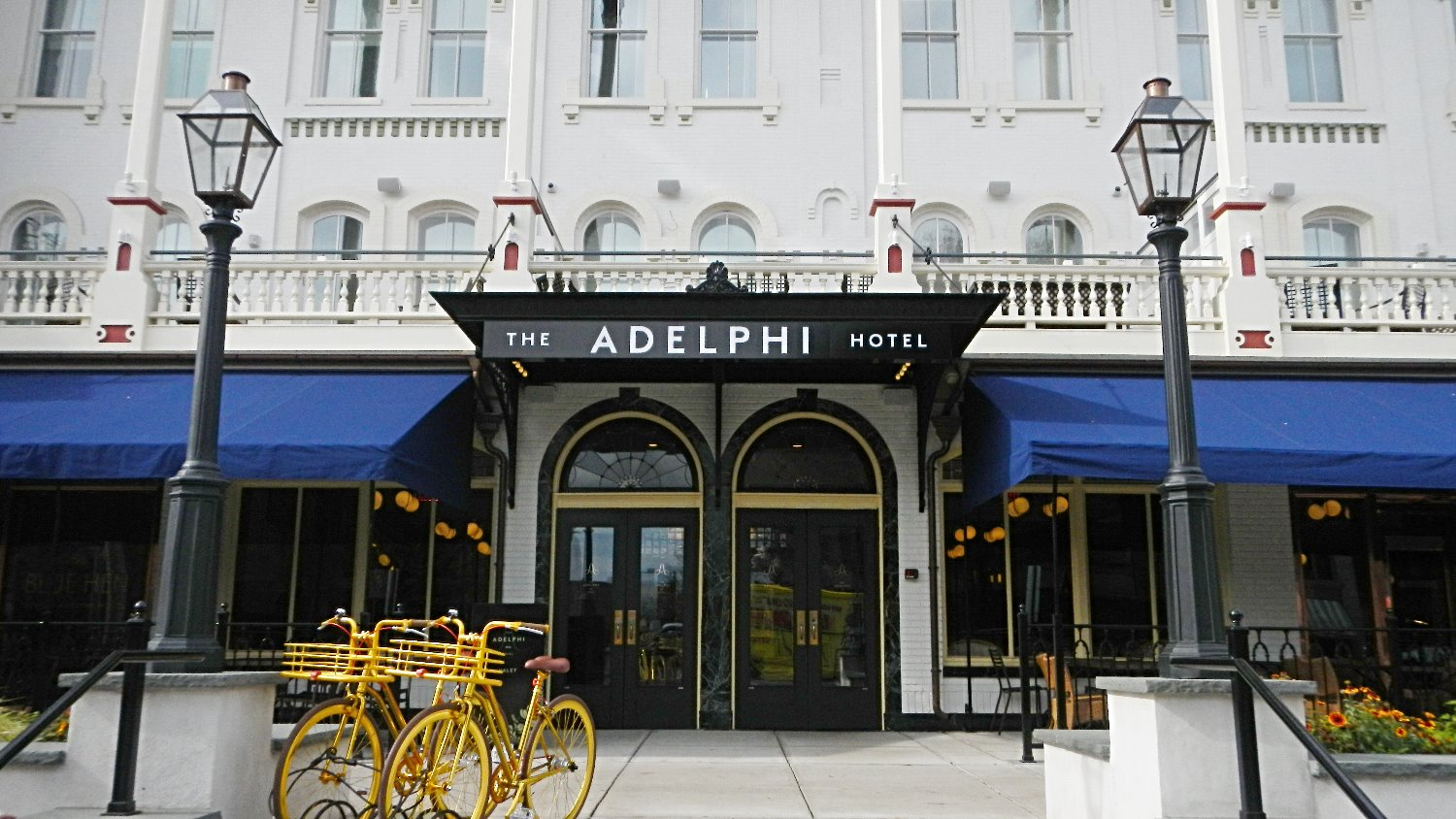 The grand entrance to The Adelphi Hotel