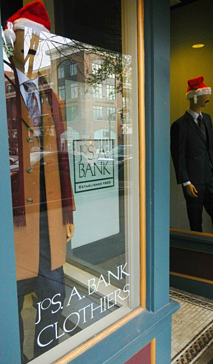 Mannequins dressed for the season at Joseph A. Bank