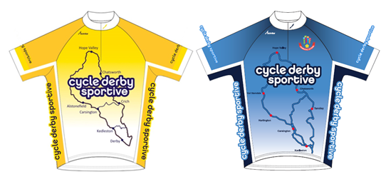 Cycle Derby Sportive cycling jerseys blue and yellow