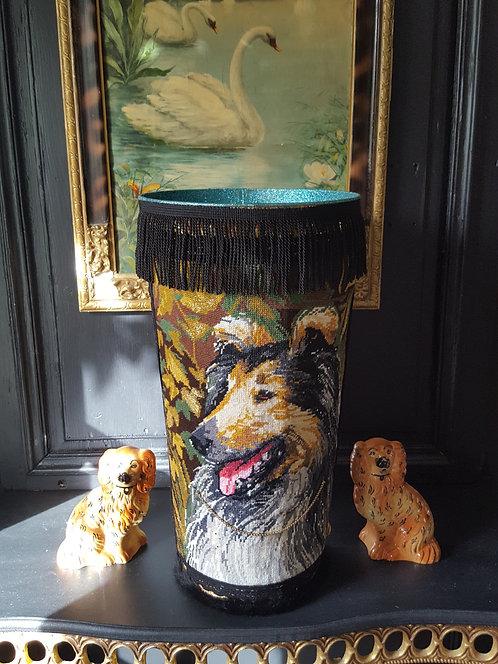VASE Modèle chien franges noires - Grand modèle