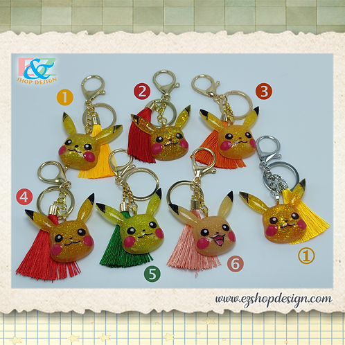 Pikachu keychain with tassel, Metal Lobster Clasp Swivel Trigger