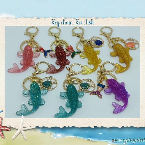Koi Fish keychain with charm, Metal Lobster Clasp Swivel Trigger Clip