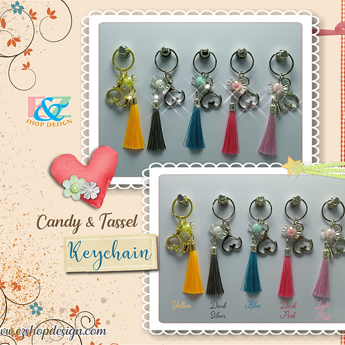 Candy Charm and Tassel Keychain with Heart shape Metal Swivel Clip