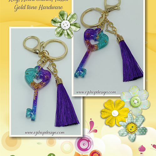 KEY keychain with tassel and charm, Metal Lobster Clasp Swivel Trigger Clip
