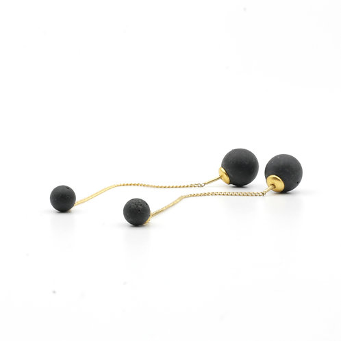 Pearl Earring | Deep Black | Gold