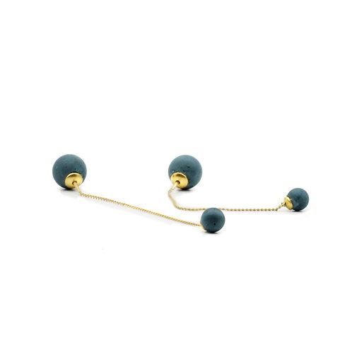 Pearl Earring | Petrol | Gold