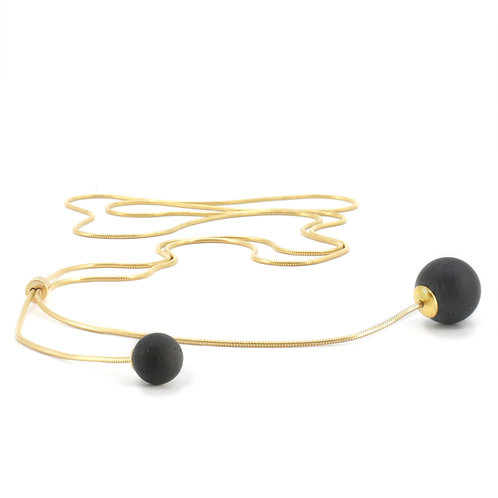 Pearl Necklace | Deep Black | Gold
