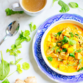 Spicy Turkey and Veggie Soup with Coconut Milk