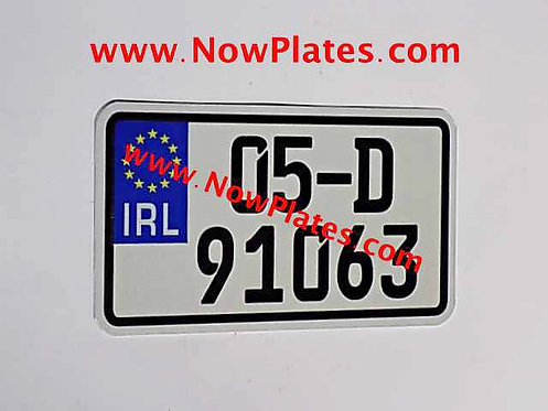 """IRL Flat Metal German FE Font Motorcycle Plate 7"""" x 4""""ins and 7"""" x 4"""" 1/2ins"""