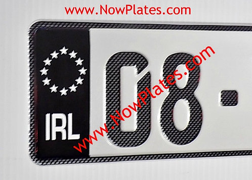 Pair of IRL Black Flag Carbon Fibre Look German Pressed Plates