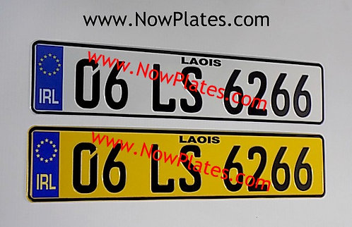 Pair of IRL German Pressed Number Plates 1x Yellow 1x White
