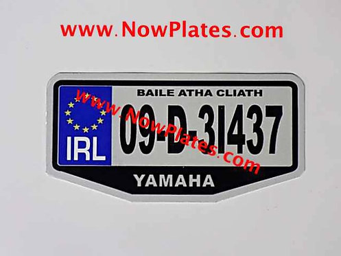 IRL Flat Metal Angled Motorcycle Plate with Name Choice