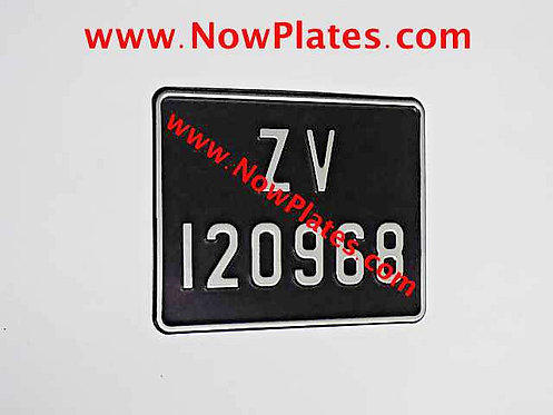 Black and Silver Pressed Motorcycle Plate with Small No's + Border 190x150mm