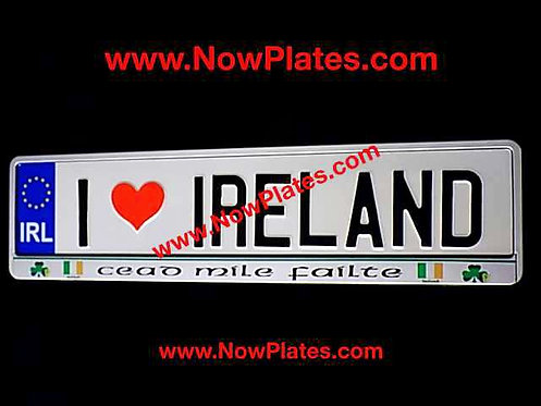 I Love Ireland White Oblong Pressed Plate + Frame if required