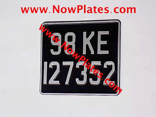 Pressed Motorcycle Plate 8 x 7ins with a Colour Choice with Medium No's