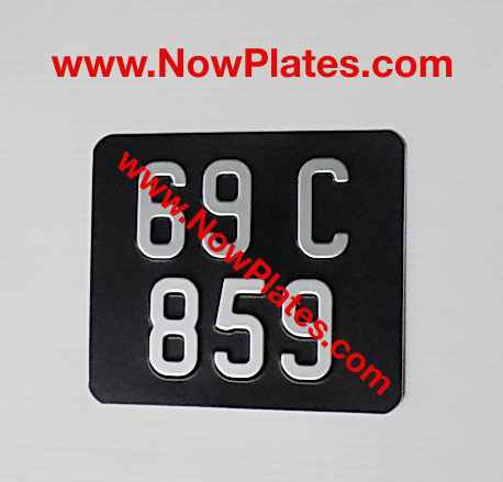 "Pressed Motorcycle Plate 7"" 3/8 x 6ins with a Colour Choice with Medium No's"