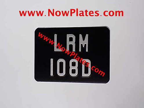 "Black and Silver Pressed Motorcycle Plate Small No's 7"" x 5""ins"