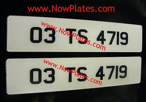 Pair of Retro Acrylic Plates Small Font with a colour choice