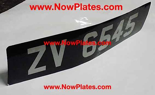 Black and Silver Sticker Plate with a Size and Colour Choice (8E)