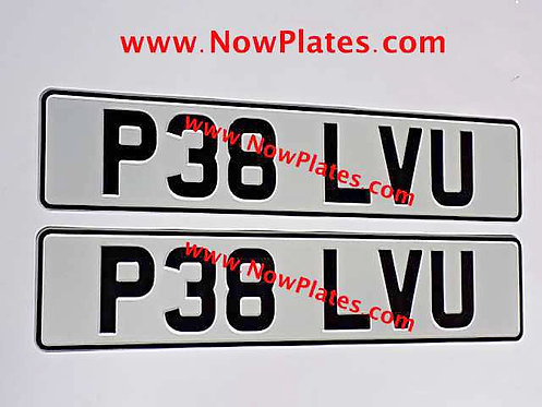 Pair of Retro Pressed Plates Large Font with a colour choice