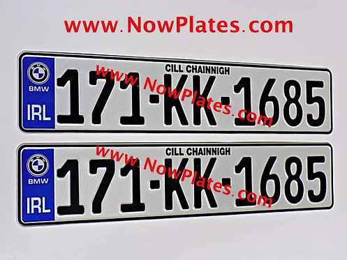 Pair of German pressed Number Plates with Logo Choice