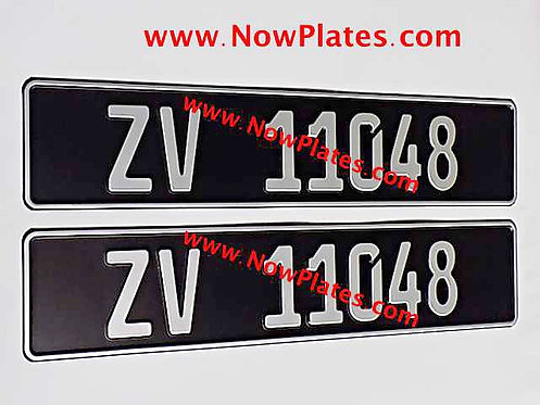 Pair of Black and Silver German Pressed Plates