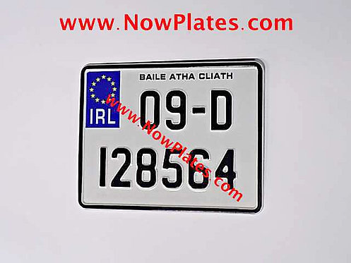 IRL Pressed Motorcycle Plate + Border 190x150mm