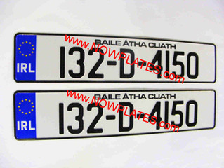 Irish Registration Number Plates NCT and MOT Pressed Plates are available from our web shop @ www.No